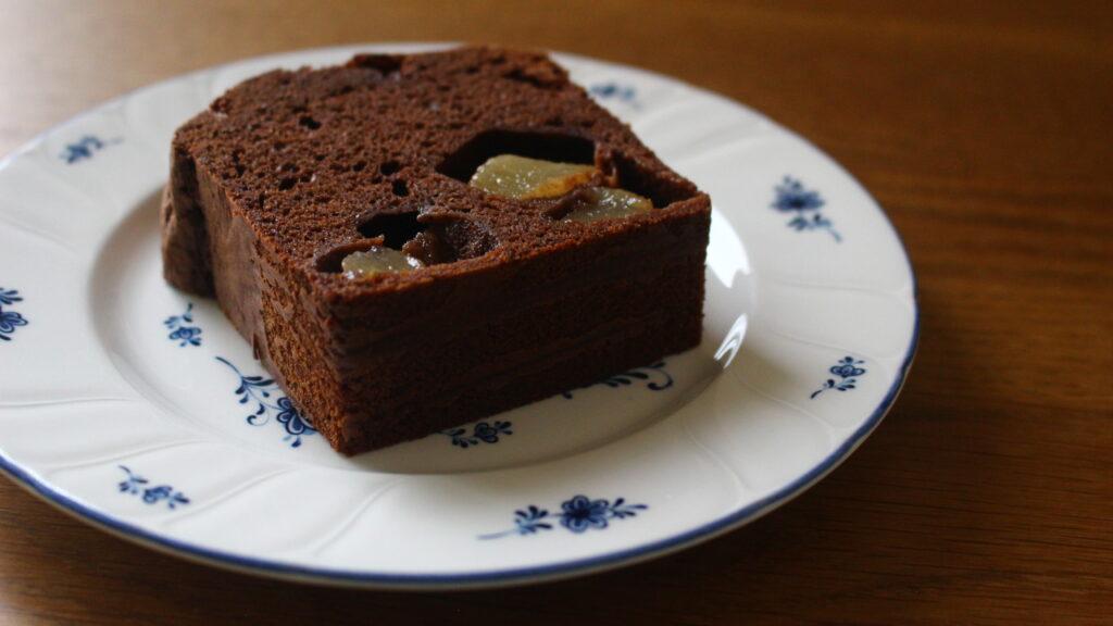梨コンポートのチョコレートケーキ