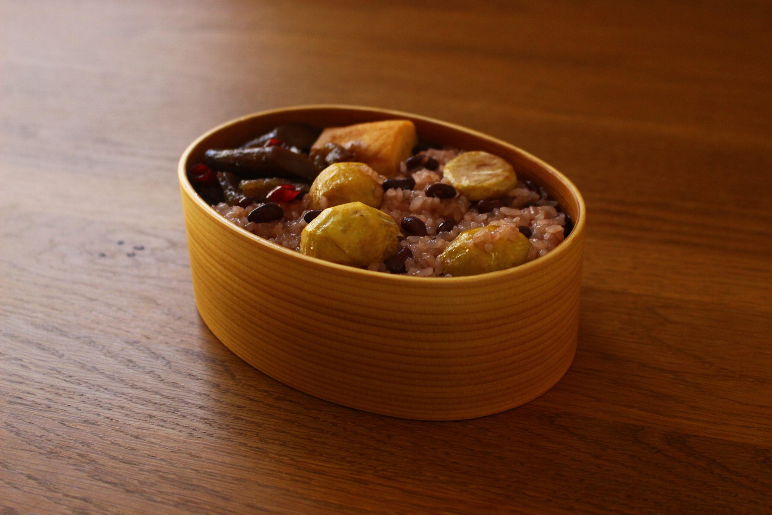 栗とささげの赤飯弁当